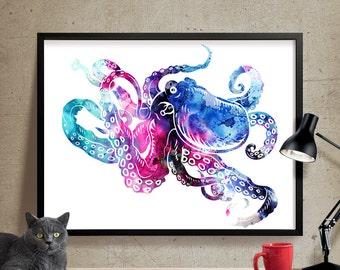 Octopus Art, Octopus Large Wall Art Print, Octopus Painting, Watercolor Art, Wall Art Decor Watercolor paint, Watercolor print  (86)