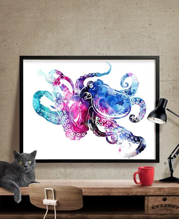 octopus art octopus large wall art print octopus painting. Black Bedroom Furniture Sets. Home Design Ideas