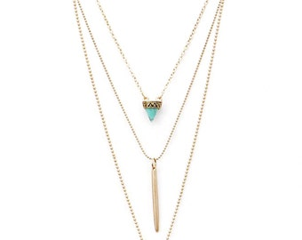 Feather Layer Necklace in Goldtone