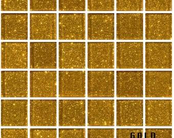 1 lb gold glitter glass tiles