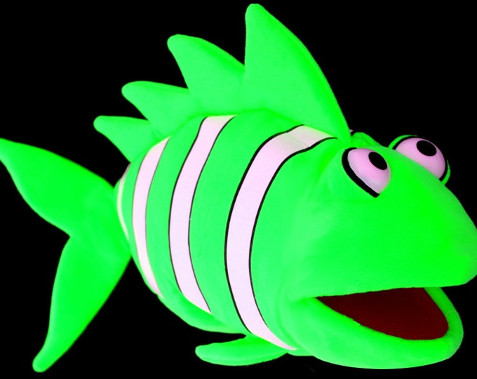 Black Light Clown Fish Puppet. Large Neon Green Puppet for Professional Puppetry Use. Use in Blacklight Puppet Shows or Daylight.