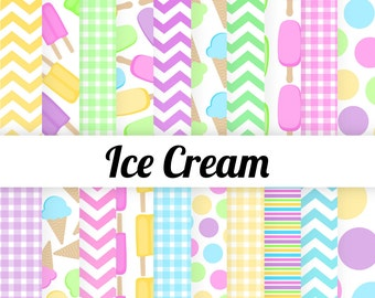50% OFF Ice Cream Digital Paper - Ice Cream Party - Candy Colors - Polka Dots - Ombre Chevron - Pink Purple Blue Yellow Green