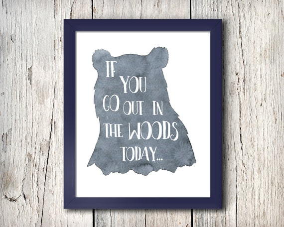 Boy's nursery digital print - If you go out in the woods today - 8x10 inch - instant download