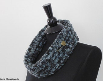 Cowl Scarf, Neck Warmer | Black, Grey, & Charcoal