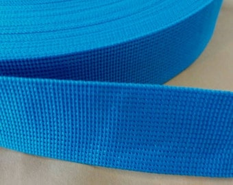 5 Yards, 1.5 inch (3.8 cm.), Polypropylene Webbing, Sky Blue, Key Fobs, Bag Straps, Purses Straps, Belts, Tote Bag Handle