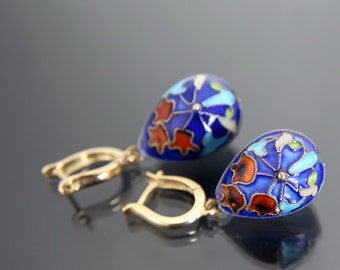 Silver Cloisonne Enamel Russian Egg Earrings. Sterling 925 Gilt. Jewelry, Vintage, Drop Earrings