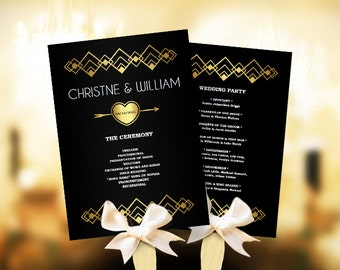 Wedding program template download. Printable wedding program fan diy. Ceremony program. Digital program. Do it yourself printable program.