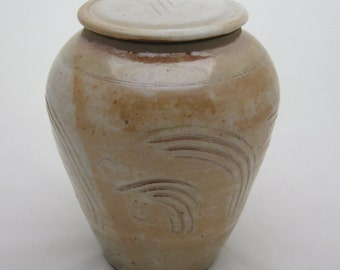 """20% off with ENDOFSUMMER coupon code thru 9/6/2016  Covered jar, 7.25"""" ht., hand carved, shino glaze"""