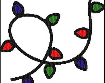 Christmas String Lights Embroidery Pattern Design