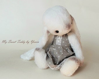 Collectible Bunny Blanche, artist teddy bunny, teddy bear, teddy toys, interior doll