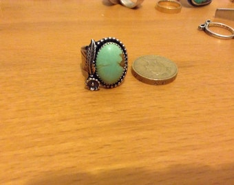 Turquoise Southwestern Style Silver Ring.