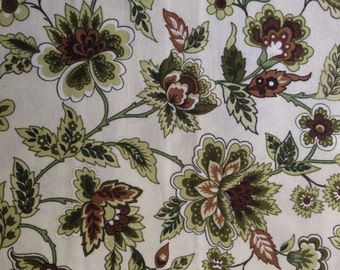 Green & white fabric by the yard, green floral fabric, olive green fabric, green cotton fabric, white quilt fabric yardage