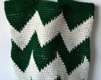Chevron Yoga/ Market Bag in Forest Green and Creamy White