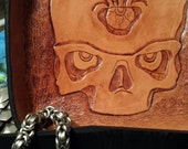Quality hand tooled leather tray for change, keys, wallet etc.
