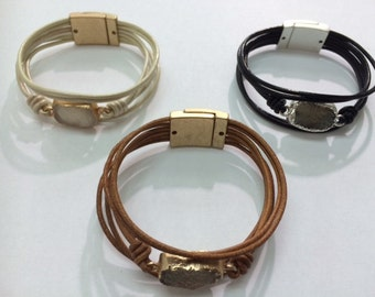 Magnetic leather bracelet, beige, black and brown, beautiful bracelet