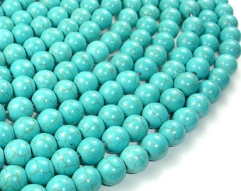 Howlite Turquoise Beads, Round, 10mm, 15.5 Inch, Full strand, Approx 41 beads, Hole 1.2 mm (213054004)