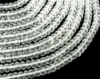 Clear Quartz Beads, Faceted Rondelle, 4 x 6 mm,15.5 Inch, Full strand, Approx 97 beads, Hole 1 mm, A+ quality (198024001)
