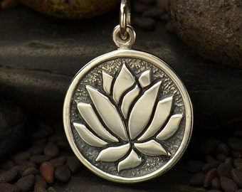 Sterling Silver Etched Lotus Flower Charm