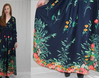 Vintage 70s Navy Blue Colorful Floral Bouquet Empire Flared Hippie Boho Maxi Dress M