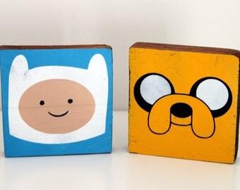 Adventure Time - Finn and Jake - Wood - Painted - Ornament - Geek - Cartoon - Jake the Dog - Finn the Human
