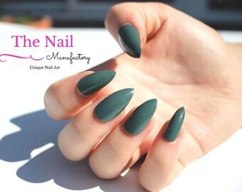 Khaki Fake Nails - Glossy Green False Nail Set - available as Stiletto Nails, Oval Nails, Square Nails - Handpainted Aritficial Nail Set