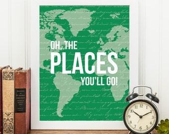 Printable Nursery Art - Green Nursery Art - Oh the Places You Will Go - Printable Art - Map Art - Boys Nursery Prints - Typography Printable