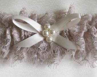 Vintage Style Eyelash Lace Bridal Garter Weddings Dusty Pink
