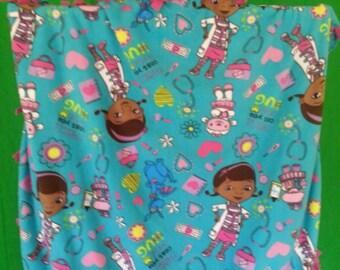 DocMcStuffin Fleece No Sew Fleece Blanket - Doc McStuffin's fleece throw - Girls Fleece Blanket - Ready to Ship!