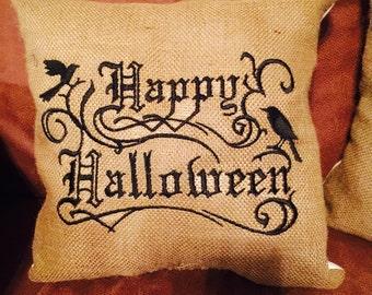 Halloween burlap throw pillow