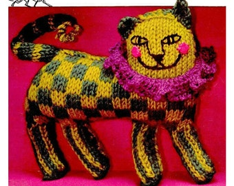 Instant Download PDF Vintage Knitting & Crochet Pattern to make a Funky Sixties Lion A Stuffed Plush Soft Body Toy Animal
