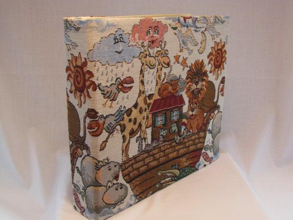 12x12 Postbound Fabric Scrapbook Photo Album Memory Book Handmade Baby Boy Girl Noah's Ark Monkey Lion Giraffe Hippo AO53 Album Outfitters