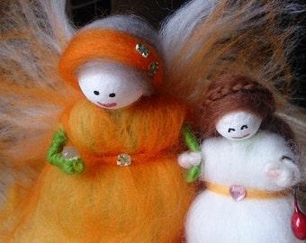 Wool Felt Fairies.  Tara-Anne and Briony. Soft Merino wool felt fairies