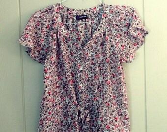 2FOR20 Vintage Floral Short Sleeve Top Medium
