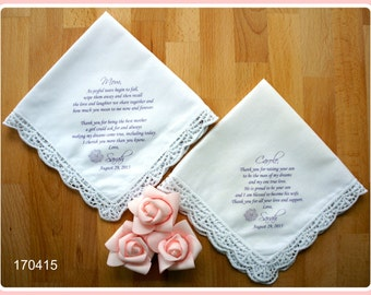 Set of 2 Mother of the Bride/Groom-Wedding Hankerchief-PRINTED-CUSTOMIZED-Wedding Handkerchief-Mother of the bride Gift-Mother of the groom