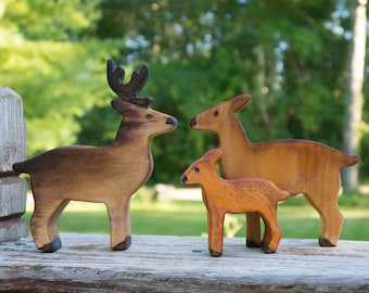 The Deerlings, wooden deer family toy set, wooden doe, wooden buck and wooden fawn toy, kids forest toys