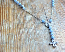 Blue rosary Natural stones necklace Casual necklace Aquamarine beads necklace Wholesales jewelry Everyday necklace Long necklace Gift