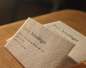 200 Letterpress  Business Cards Hand Printed on Single Ply 110 Crane's Lettra