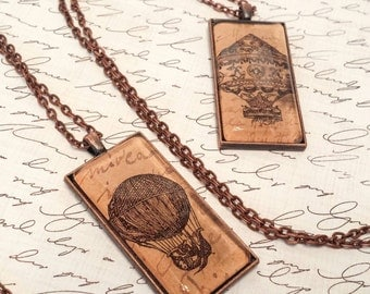 Vintage Industrial steampunk necklace, vintage hot air balloon necklace,  The Urban Disciple original jewelry, pendant, Victorian balloon