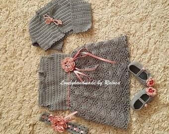 crochet baby girl set - bolero, dress, headband and booties