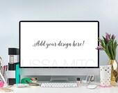 iMac Website Desktop Mockup Pink Gold Aqua Stock Photo #2