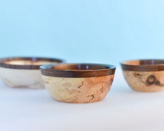 Poplar and Walnut wooden Bowl