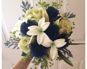 Navy blue bridal bouquet, roses and tiger lilies.