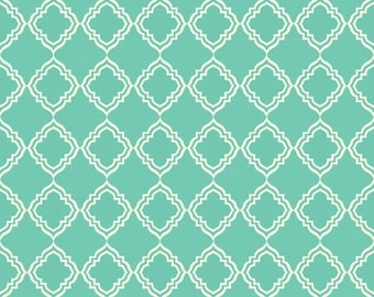 Extravaganza by Lila Tueller - Geometric floral flower in Teal quilting fabric