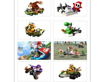 8 PRINTED Mario Kart inspired Stickers, Birthday Party Favors, Labels