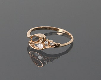 SALE 50% OFF,, Tiny ring, Small ring, Gold ring, Band ring, Gold band, CZ ring, Cubic zirconia ring, Women ring, 14k women ring