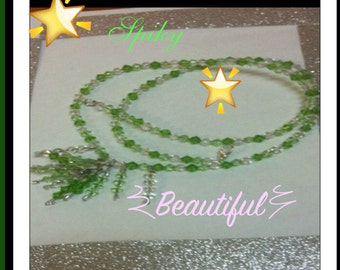 SALE Green beaded necklace.