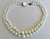 Lovely vintage West Germany milk glass double strand graduated bead choker necklace