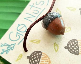 Acorn necklace, acorn charm, nut charm, acorn, brown acorn necklace, cute acorn necklace, cute acorn charm, 3D acorn charm, spherical acorn