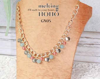 Pink & Blue Crystal Beading Golden Necklace