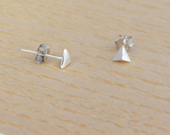 Sterling Silver Pyramid Triangle Stud Earrings Minimalist Simple Design - Textured Brushed Finish (gift packed) M16
